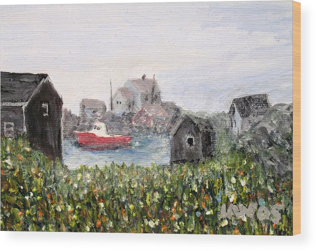 Red Boat Wood Print featuring the painting Red Boat In Peggys Cove Nova Scotia by Ian MacDonald