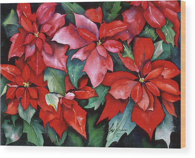 Red Wood Print featuring the painting Red Poinsettias by Leah Wiedemer