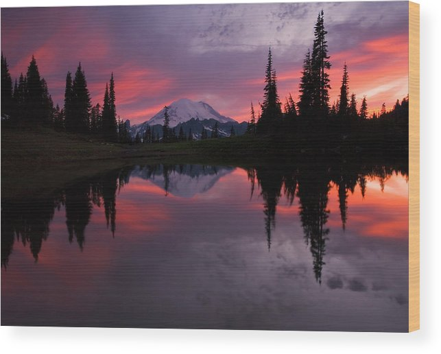Rainier Wood Print featuring the photograph Red Sky At Night by Mike Dawson