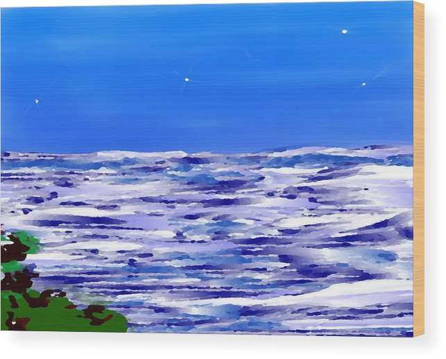 Sea.evening.night.silence.water.waves.deep Water.quiet .coast.sky.stars.calm.no Wind Wood Print featuring the digital art Sea.moon Light by Dr Loifer Vladimir