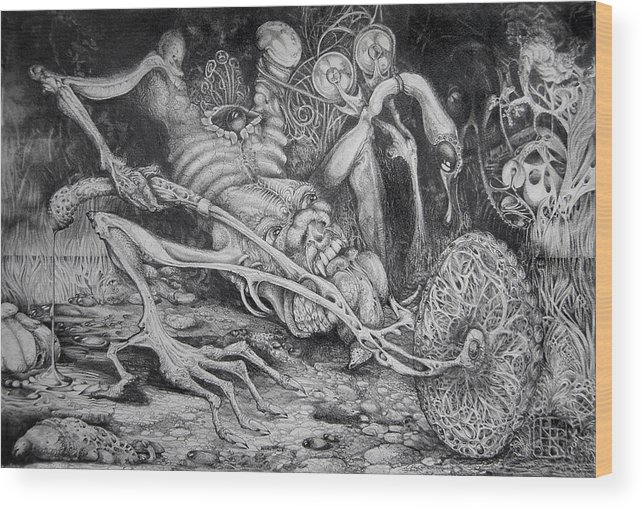 Surrealism Wood Print featuring the drawing Selfpropelled Beastie Seeder by Otto Rapp