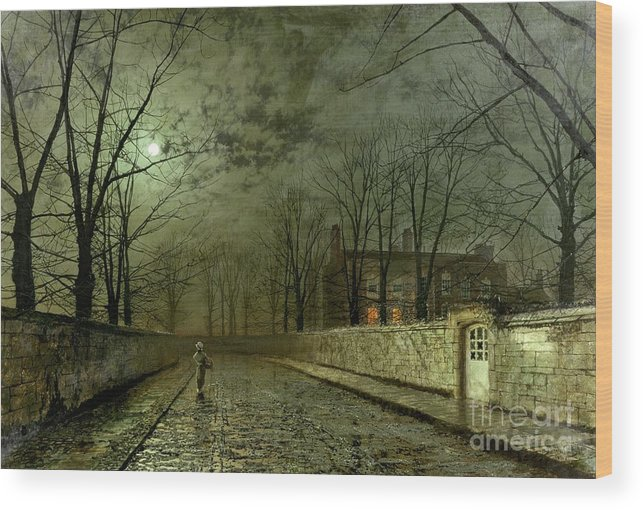 Silver Moonlight Wood Print featuring the painting Silver Moonlight by John Atkinson Grimshaw