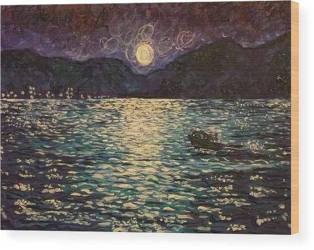Landscape Wood Print featuring the painting Silver Sea by Ericka Herazo