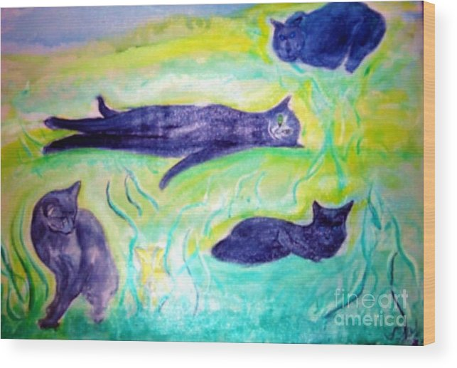 Cat Wood Print featuring the painting Smokey by Stanley Morganstein