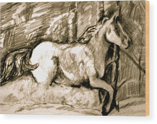 Horse Wood Print featuring the drawing Snow Drift Delight by Dan Earle