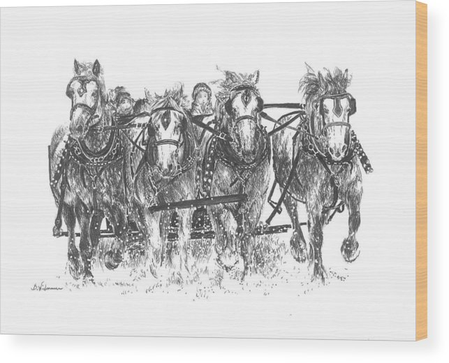Solstice Wood Print featuring the drawing Solstice Celebration by Barbara Widmann