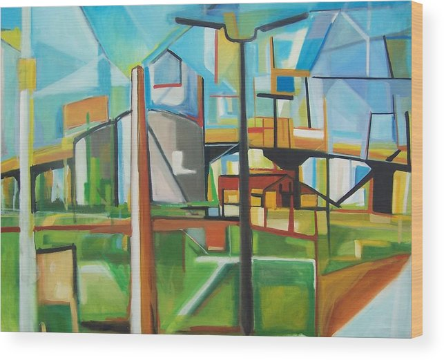 Landscape Wood Print featuring the painting South Hackensack by Ron Erickson