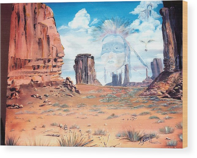 Native American Wood Print featuring the painting Spirit In The Wind by Joan Gossett