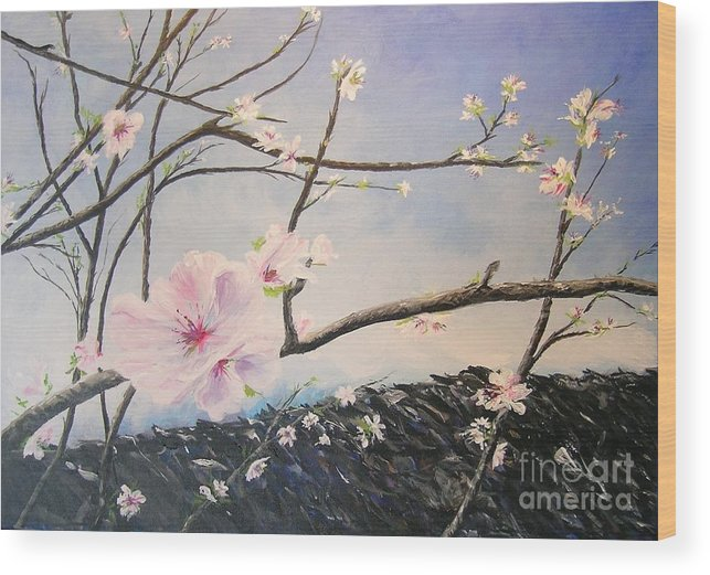 Flower Wood Print featuring the painting Spring Is In The Air by Lizzy Forrester