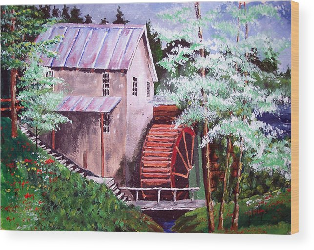 Mill Wood Print featuring the painting Springtime At The Old Mill by Jim Phillips