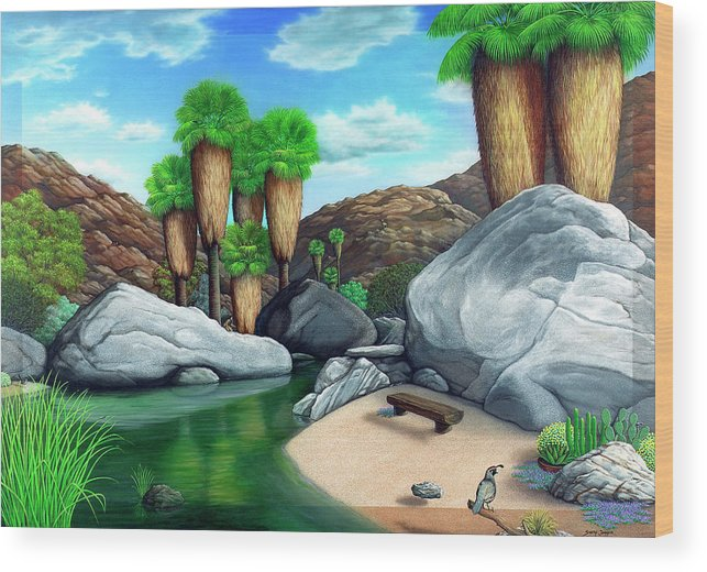 Landscape Wood Print featuring the painting Springtime In The Canyons by Snake Jagger