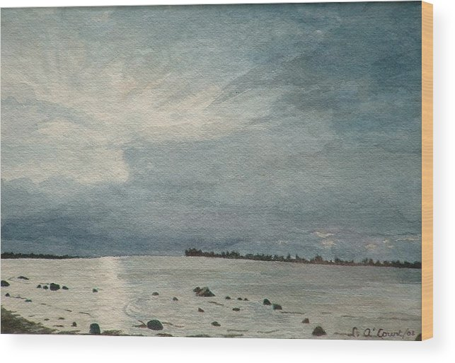 Landscape Wood Print featuring the painting Steel Morning In Rock Garden by Lynn ACourt