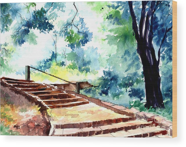 Landscape Wood Print featuring the painting Steps To Eternity by Anil Nene
