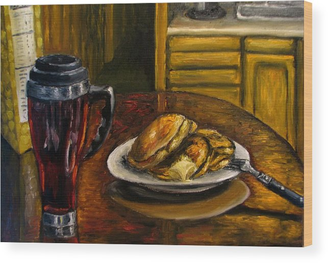 Still Life Painting Wood Print featuring the painting Still Life Pancakes And Coffee Painting by Natalja Picugina