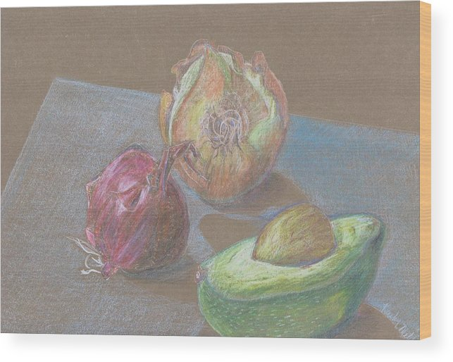 Still Life Wood Print featuring the drawing Still Life With Avacado by Kathy Mitchell
