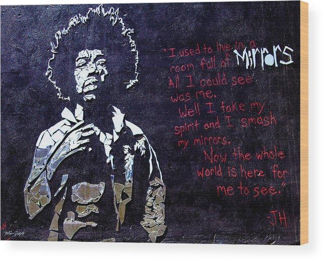 Jimmy Hendrix Wood Print featuring the digital art Street Art - Jimmy Hendrix by Mia DeBolt