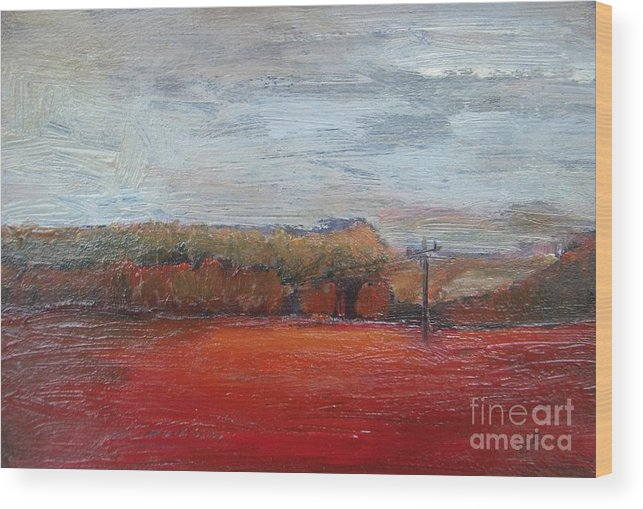 Landscape Wood Print featuring the painting Suburb In October by Vesna Antic