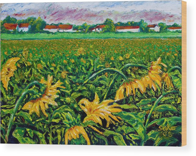 Landscape Wood Print featuring the painting Sunflower Farm by Robert Sako