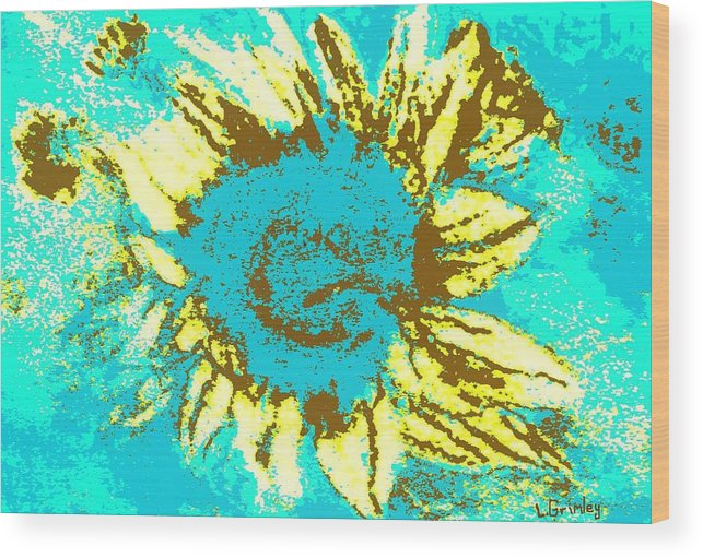 Flower Wood Print featuring the mixed media Sunflower by Lessandra Grimley