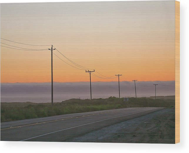 Sunsets Wood Print featuring the photograph Sunset And Telephone Wires by Liz Santie
