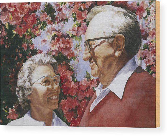 Watercolor Wood Print featuring the painting Sweethearts by Nancy Ethiel