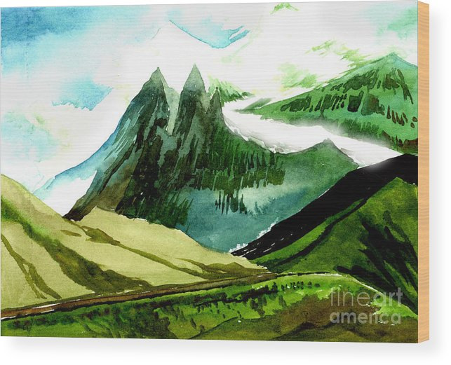Landscape Wood Print featuring the painting Switzerland by Anil Nene