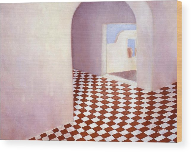 Room Interior Wood Print featuring the painting Terracotta Tile by Gloria Cigolini-DePietro