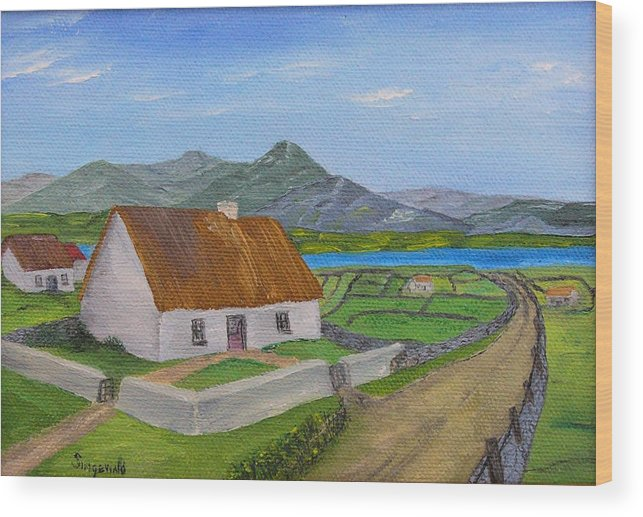 Irish Scene Wood Print featuring the painting Thatched House 2 by Cary Singewald