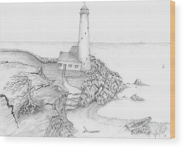 Realistic Drawing Wood Print featuring the drawing The Beacon by Dan Theisen
