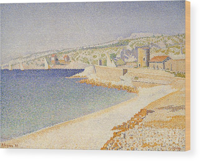 Signac Wood Print featuring the painting The Jetty At Cassis by Paul Signac