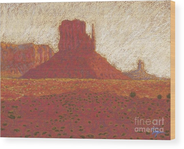 Deserts Artwork Wood Print featuring the drawing The Right Mitten by Suzie Majikol Maier