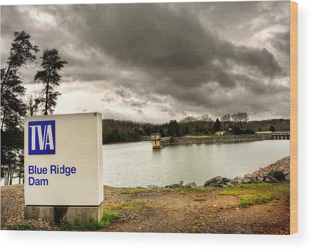 Blue Ridge Dam Wood Print featuring the photograph The Top Of Blue Ridge Dam by Greg and Chrystal Mimbs
