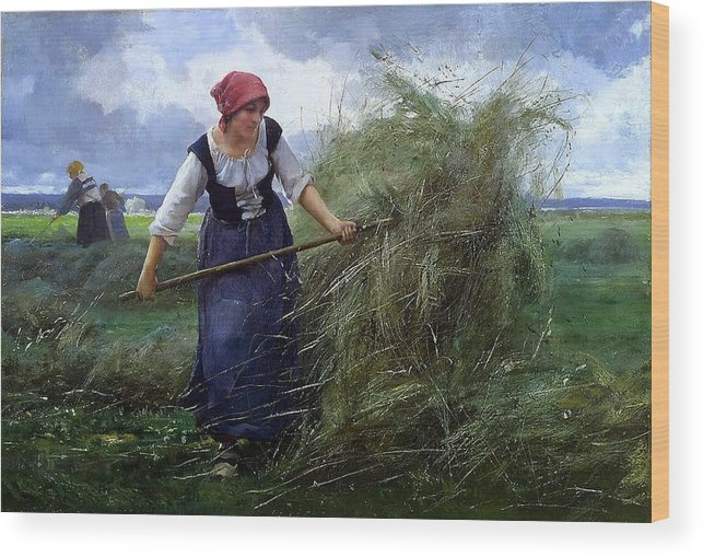 Julien Dupré - The Wheatfield Wood Print featuring the painting The Wheatfield by MotionAge Designs