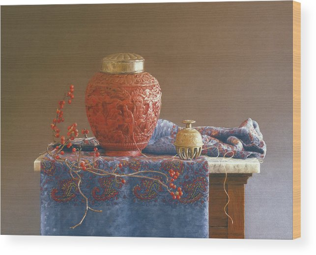 Chinese Wood Print featuring the painting Thread To The Past by Barbara Groff