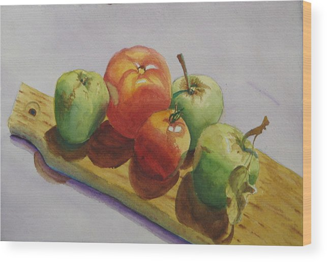 Fruit Wood Print featuring the painting Three Apples Two Tomatoes by Libby Cagle