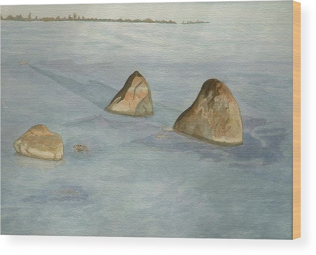 Lakescape Wood Print featuring the painting Three Sisters by Lynn ACourt
