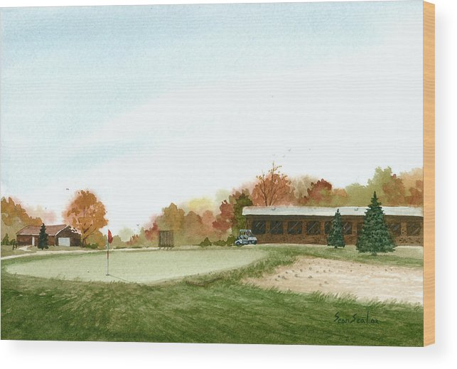 Golf Wood Print featuring the painting Tom's Golf Course by Sean Seal