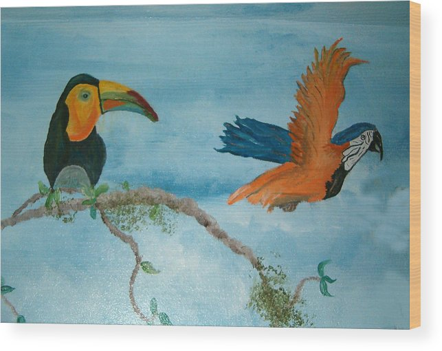 Tropical Birds Wood Print featuring the painting Tropical Birds by Mikki Alhart