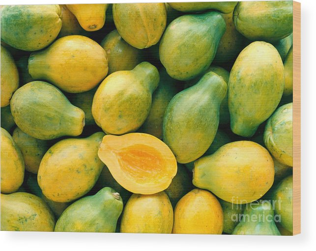 Arrange Wood Print featuring the photograph Tropical Papayas by Greg Vaughn - Printscapes
