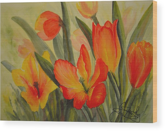 Spring Tulips Wood Print featuring the painting Tulips by Joanne Smoley