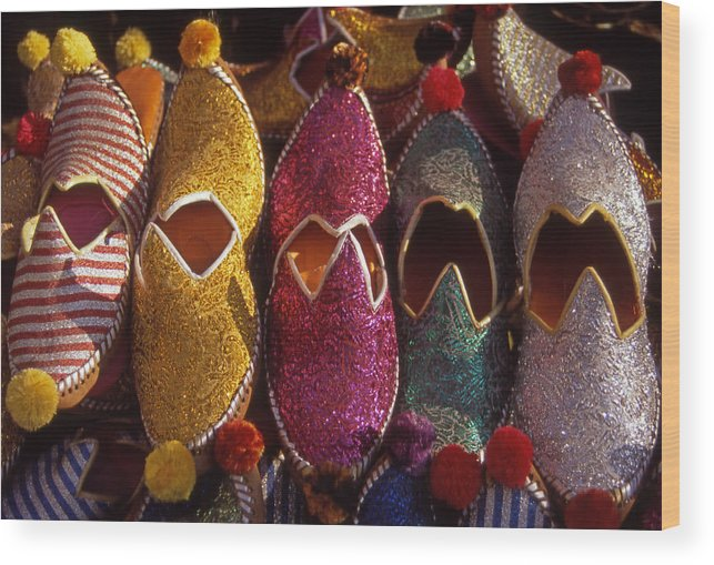 Colorful; Turkish; Slippers; Footwear; Turkey Wood Print featuring the photograph Turkish Slippers by Steve Outram