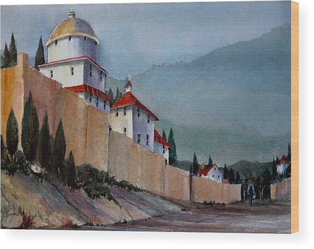 Tuscan Wood Print featuring the painting Tuscan Lane by Charles Rowland