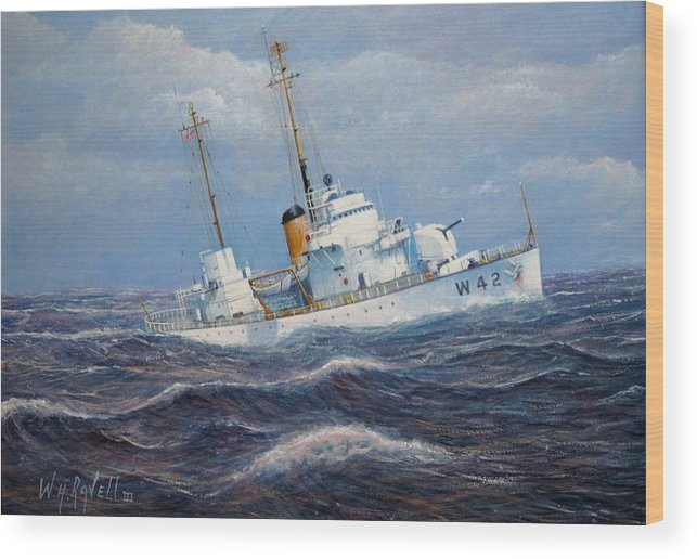 Marine Art Wood Print featuring the painting U. S. Coast Guard Cutter Sebago Takes A Roll by William H RaVell III