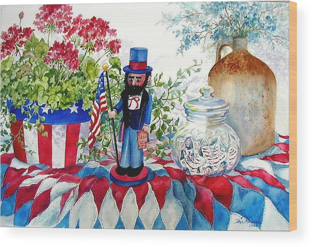 Americana;patriotic;uncle Sam;quilt;stars And Stripes;nutcracker;watercolor Painting; Wood Print featuring the painting Uncle Sam And Star Cookies by Lois Mountz
