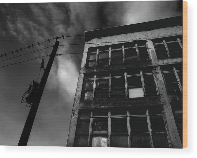 Black And White Wood Print featuring the photograph Urban Desolation by Barbara White