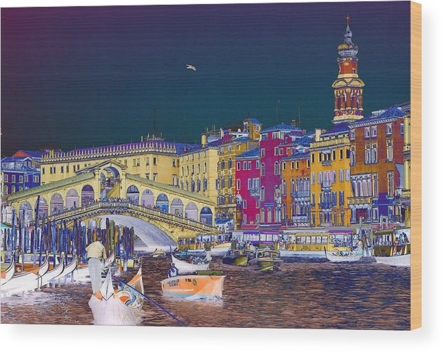 Venice Wood Print featuring the photograph Venice Canal by Charles Ridgway
