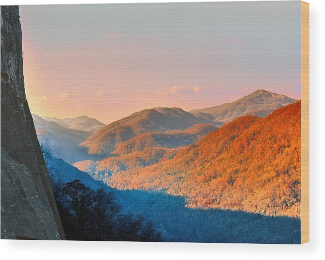 Landscape Wood Print featuring the photograph View From Chimney Rock-north Carolina by Steve Karol