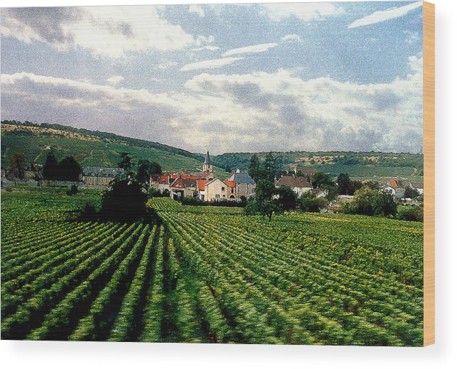 Vineyards Wood Print featuring the photograph Village In The Vineyards Of France by Nancy Mueller