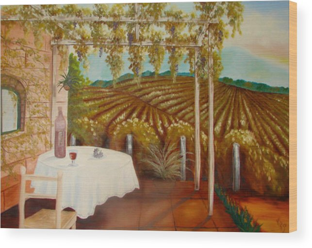 Vineyard Wood Print featuring the painting Vineyard II by Karen R Scoville