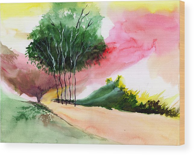 Watercolor Wood Print featuring the painting Walk Away by Anil Nene